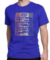 APEX LEGENDS レトロ ヴィンテージ風 イラスト フロントプリント メンズ 半袖Tシャツ ガンシルエット 夏服 トップス 高品質 大人用 100%コットン  S~6XL  ブルー
