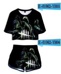 Dead by Daylight キラー 3ショット 5ラインロゴ 大迫力 BIGプリント レディース ショート丈 半袖 Tシャツ&ショートパンツ 2点セット カジュアル トップス XS~XXL