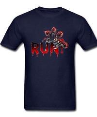 Dead by Daylight デモゴルゴン キラー ホラー 血文字デザイン RUN フロントプリント 半袖 メンズ Tシャツ XS~XXXL ネイビー