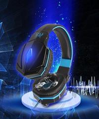 ディープベース ステレオサウンド ゲーミングヘッドフォン PC ハイクオリティ ヘッドセット PS4対応 マイク付 オンラインゲーム ブルー