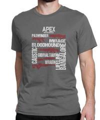 APEX LEGENDS スタイリッシュ レタープリント メンズ 半袖Tシャツ ガンシルエット 高品質 大人用 100%コットン サマートップス S~6XL ダークグレー