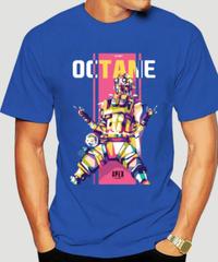 APEX LEGENDS オクタン フロントプリント 半袖 メンズ ブルーカラー Tシャツ S~XXXL