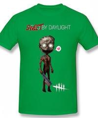 Dead by Daylight デフォルメ キャラクタープリント 半袖 Tシャツ キラー トラッパーデザイン Oネック コットン S~6XL グリーン