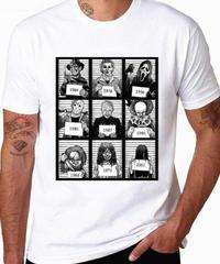 ホラー映画 キャラクター 大集合  メンズ Tシャツ トップス ホワイト 逮捕フォト ユニーク Tシャツ XS~XXL