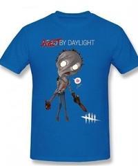 Dead by Daylight デフォルメ キャラクタープリント 半袖 Tシャツ キラー ヒルビリーデザイン Oネック コットン S~6XL ブルー