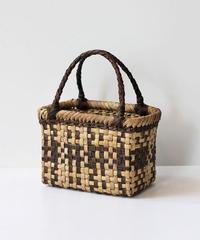 横幅19cm モザイク柄 沢胡桃のかごバッグ   (クルミ/くるみ/籠)  オズのかごバッグ