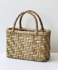 横幅25cm マチ10cm 表皮太網代編み 沢胡桃のかごバッグ   (クルミ/くるみ/籠)  オズのかごバッグ
