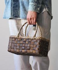 横幅27cm 沢胡桃のかごバッグ  表裏2トーン平編み (クルミ/くるみ/籠)  オズのかごバッグ