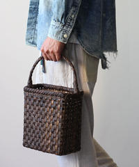 裏皮 横幅19cm 縦長 沢胡桃のかごバッグ  ワンハンドル平編み (クルミ/くるみ/籠)  オズのかごバッグ
