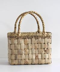 横幅25cm 市松編み 沢胡桃のかごバッグ   (クルミ/くるみ/籠)  表皮 ミドルサイズ