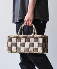 横幅37cm チェック柄 沢胡桃のかごバッグ   (クルミ/くるみ/籠)  オズのかごバッグ