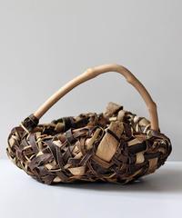 乱れ編み 沢胡桃の置き籠  (クルミ/くるみ/籠)  オズのかごバッグ