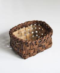 沢胡桃の置きかご 籠 (小) 裏皮 小物入れ 平織り  定番品 A