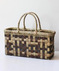 横幅39cm モザイク柄 沢胡桃のかごバッグ   (クルミ/くるみ/籠)  オズのかごバッグ