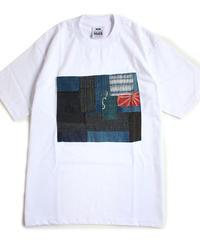 襤褸(古布)のリメイク パッチワーク  Tシャツ 6.5ozヘビーウエイトUSAコットンボディ( Mサイズ ) 白