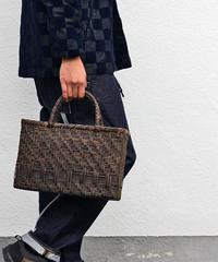 沢胡桃のかごバッグ  網代編み 裏皮 マチ13cm 幅34cm