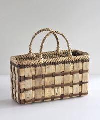 沢胡桃のかごバッグ 市松編み 表皮×裏皮 36cm幅