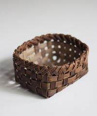 沢胡桃の置きかご 籠 (小) 裏皮 小物入れ 平織り  定番品 C