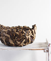 乱れ編みボウル 沢胡桃の置き籠  (クルミ/くるみ/籠)  オズのかごバッグ
