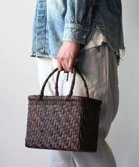 裏皮 ステッチ3本ライン 横幅25cm 沢胡桃のかごバッグ  網代編み (クルミ/くるみ/籠)  オズのかごバッグ