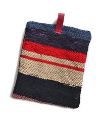 古布の裂き織りと柿渋染め(鉄媒染)  鍋つかみ to 鍋敷きorワンポイントマット