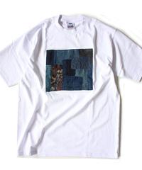 襤褸(古布)のリメイク パッチワーク  Tシャツ 6.5ozヘビーウエイトUSAコットンボディ( Lサイズ )