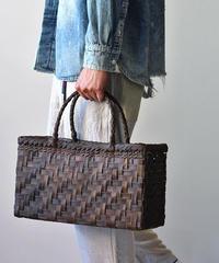 裏皮 大き目サイズ 横幅39cm 沢胡桃のかごバッグ  網代編み (クルミ/くるみ/籠)  オズのかごバッグ