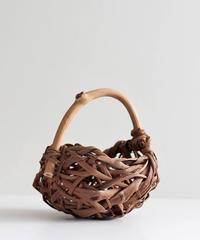 山葡萄樹皮 乱れ編み 置き籠 ウッドハンドル付き