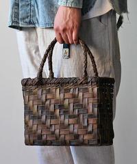裏皮 横幅25cm 沢胡桃のかごバッグ  網代編み (クルミ/くるみ/籠)  オズのかごバッグ