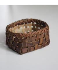 沢胡桃の置きかご 籠 (小) 裏皮 小物入れ 平織り  定番品 E