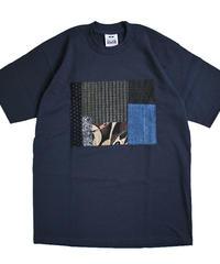 襤褸(古布)のリメイク パッチワーク  Tシャツ 6.5ozヘビーウエイトUSAコットンボディ( Mサイズ ) 紺