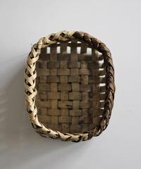 沢胡桃の置きかご 籠 (小) 裏皮 縁周り表×裏 小物入れ 平織り