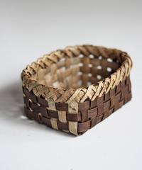 沢胡桃の置きかご 籠 (小) 裏皮 小物入れ 平織り  定番品 I