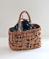 山葡萄のかごバッグ   古布巾着取り外し可能  斜めワンハンドル 乱れ編み