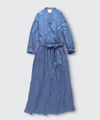 COTTON VENETIAN LONG WRAP DRESS COAT / NUIT BLUE
