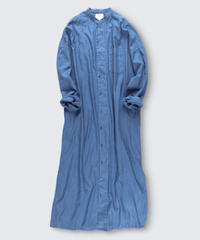 COTTON STRIPE DOBBY STAND COLLAR DRESS COAT / NUIT BLUE