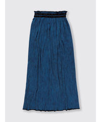 PLEATED HICKORY LONG SKIRT / NUIT BLUE