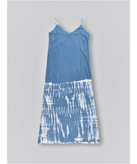 BLEACH PATTERN COTTON JERSEY CAMISOLE DRESS / NUIT BLUE