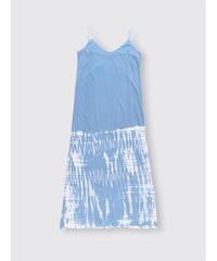 BLEACH PATTERN COTTON JERSEY CAMISOLE DRESS / MATIN BLUE