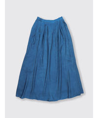 RAYON CUPPULA SILK FLARE LONG SKIRT / NUIT BLUE