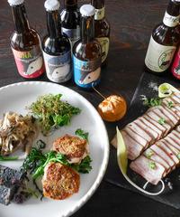 kurabe シェフ 自慢の季節の伊那谷 晩酌セット (1〜2人前)      peccary beer  8本入り(4種×2本)