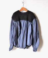 【 folk made 2019AW 】boa gather blouse / black boa x denim / size LL(140-155cm)