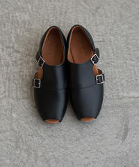 【 UNIONINI 2019SS 】UN02-1 double monk strap shoes / Black  / 22 - 24.5cm