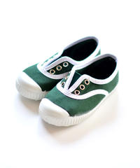 【 La Cadena アーカイブ 】 INGLES ELASTICO P  - White Trim  / BOTTLE GREEN / 17〜21cm