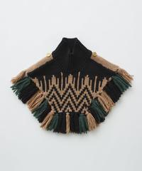 【 eLfinFolk 2019AW 】elf-192K13 Nordic knit mantle / black×camel / Mサイズ