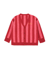 【 tiny cottons 2019SS 】AW19-364 STRIPES CARDIGAN / burgundy/bubble gum