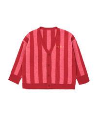 【 tiny cottons 2019SS 】AW19-364 STRIPES CARDIGAN / burgundy/bubble gum