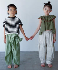 【 folk made 2020SS 】#12 pants with ribbon / pale green
