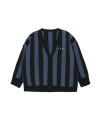 【 tiny cottons 2019SS 】AW19-364 STRIPES CARDIGAN / black/true navy