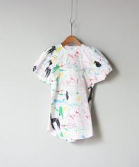 【 folk made 2020SS 】#7 folkloric print dress / white x red